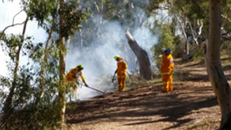 Photo of people in fire fighting clothing working on edge of a smoky fire in woodland 16 May 2015